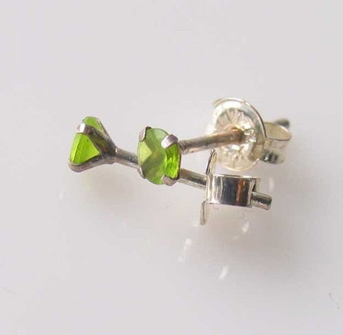 August! 3mm Created Peridot & Silver Earrings 10146H - PremiumBead