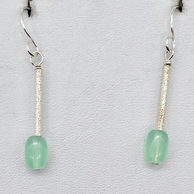 Unique Gem Quality Chrysoprase & Sterling Silver Earrings | 1 1/2 inch long | - PremiumBead