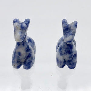 Graceful 2 Carved Sodalite Giraffe Beads | 21x16x9mm | Blue/White - PremiumBead Alternate Image 7