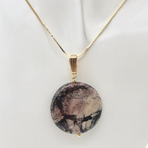 Porcelain Jasper 30mm Disc and 14K Gold Filled Pendant 510602H - PremiumBead