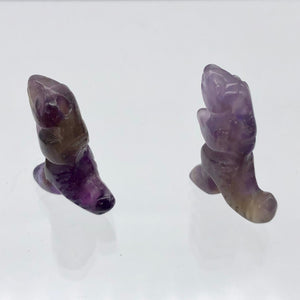 T-Rex Dinosaur 2 Amethyst Tyrannosaurus Rex Beads | 21x18.5x8mm | Purple w/Brown - PremiumBead Alternate Image 6