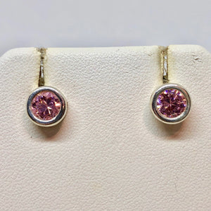 October! 7mm Pink Cubic Zirconia & Sterling Silver Earrings 9780Jb - PremiumBead