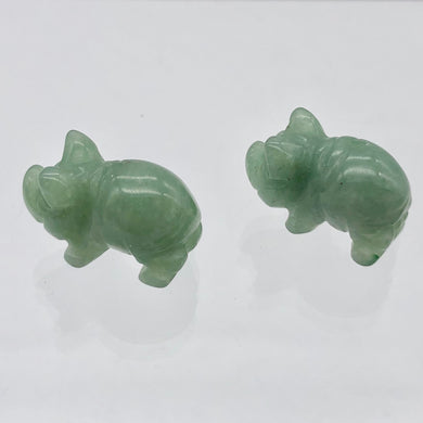 Oink 2 Carved Aventurine Pig Beads | 21x13x9.5mm | Green - PremiumBead