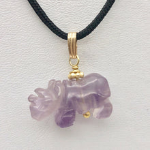 Load image into Gallery viewer, Hand Carved Rhino Amethyst Rhinoceros and 14k Gold Filled Pendant 509275AMLG - PremiumBead Alternate Image 11
