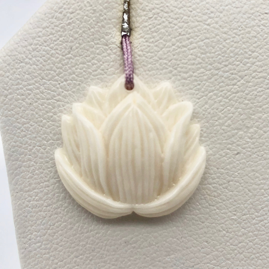 1 Glamorous Water Buffalo Bone Lotus Flower Pendant Bead 10786 - PremiumBead Primary Image 1
