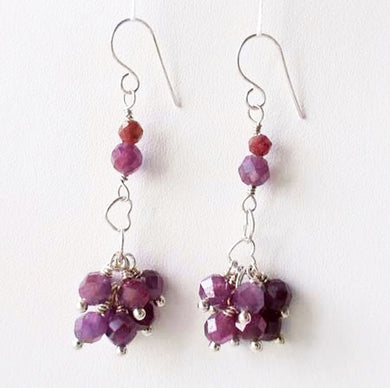Love Purple Sapphire & Silver Heart Earrings 306622 - PremiumBead
