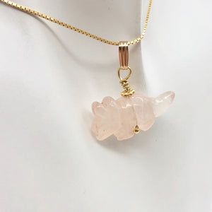 "Rose Quartz Triceratops Pendant Necklace|SemiPrecious Stone Jewelry|14K Pendant | 22x12x7.5mm (Triceratops), 5.5mm (Bail Opening), 1"" (Long) 