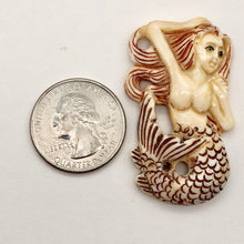Load image into Gallery viewer, Splash Hand Carved Mermaid Centerpiece Bead | 42x26x5mm | - PremiumBead Alternate Image 3