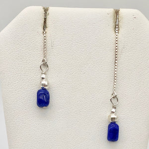 Lapis Lazuli and Sterling Threader Earrings 303272B - PremiumBead
