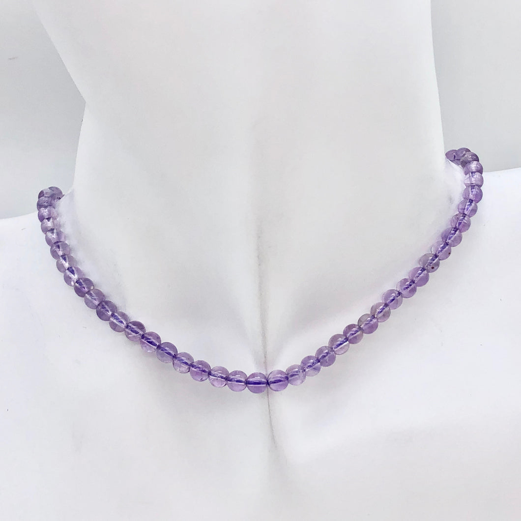 Lilac Natural 4mm Amethyst Round Bead Strand | ~96 Beads | 10813 - PremiumBead