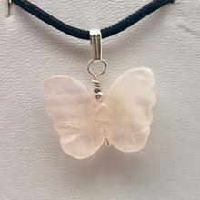 Load image into Gallery viewer, Flutter Carved Rose Quartz Butterfly and Sterling Silver Pendant 509256RQS - PremiumBead
