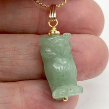 Load image into Gallery viewer, Aventurine Owl Pendant Necklace | Semi Precious Stone Jewelry | 14k gf Pendant - PremiumBead