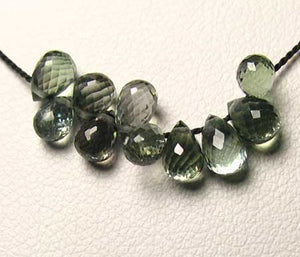 1 Natural Moss Green Sapphire Briolette Bead (6x4.5mm to 8x7mm)9667Al - PremiumBead