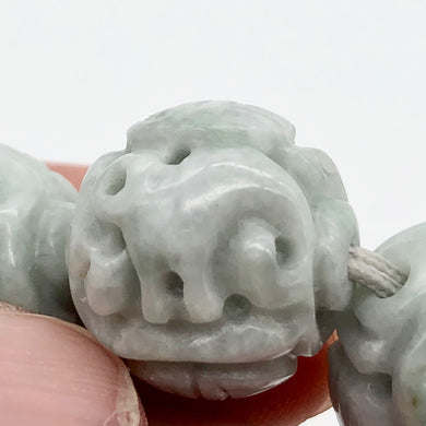 17.5mm Hand Carved Longevity Knot Jadeite Bead - 1 Bead 10769 | 17.5mm | Green - PremiumBead