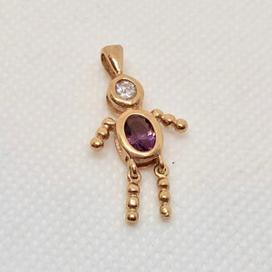 February! Crystal Kid Boy 22K Vermeil Pendant 9926Bb - PremiumBead