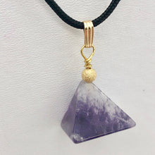 "Load image into Gallery viewer, Contemplation Amethyst Pyramid and 14k Gold Filled Pendant | 1 3/8"" Long - PremiumBead"