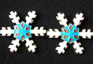 2 Turquoise Cloisonne 30x27mm Snowflake Centerpiece Beads 8638D - PremiumBead