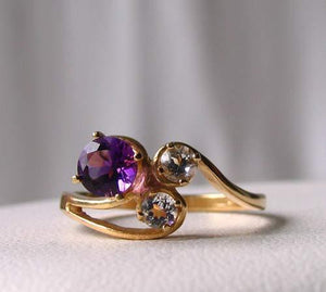 Purple Amethyst White topaz Solid 14Kt Yellow Gold Solitaire Ring Size 7 9982Az - PremiumBead
