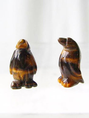 March of The Penguins 2 Tigereye Carved Beads | 21x12x11mm | Golden Brown - PremiumBead Primary Image 1