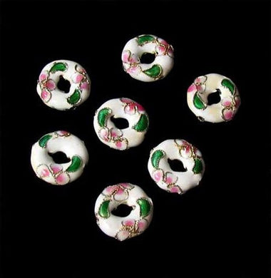 7 Flowers White Cloisonne 15x4mm Pi Circle Beads 8637A - PremiumBead