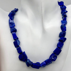 Intense! Natural Gem Quality Lapis Lazuli Bead Strand | 35 beads | 14x11x6mm |