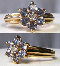Load image into Gallery viewer, Tanzanite & Diamond Solid 10Kt Yellow Gold Flower Ring Size 7 9982F - PremiumBead Alternate Image 4