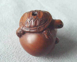 Terrific Carved Boxwood Turtle On Egg Ojime/Netsuke Bead | 21x21.5x17mm | Brown - PremiumBead Alternate Image 2