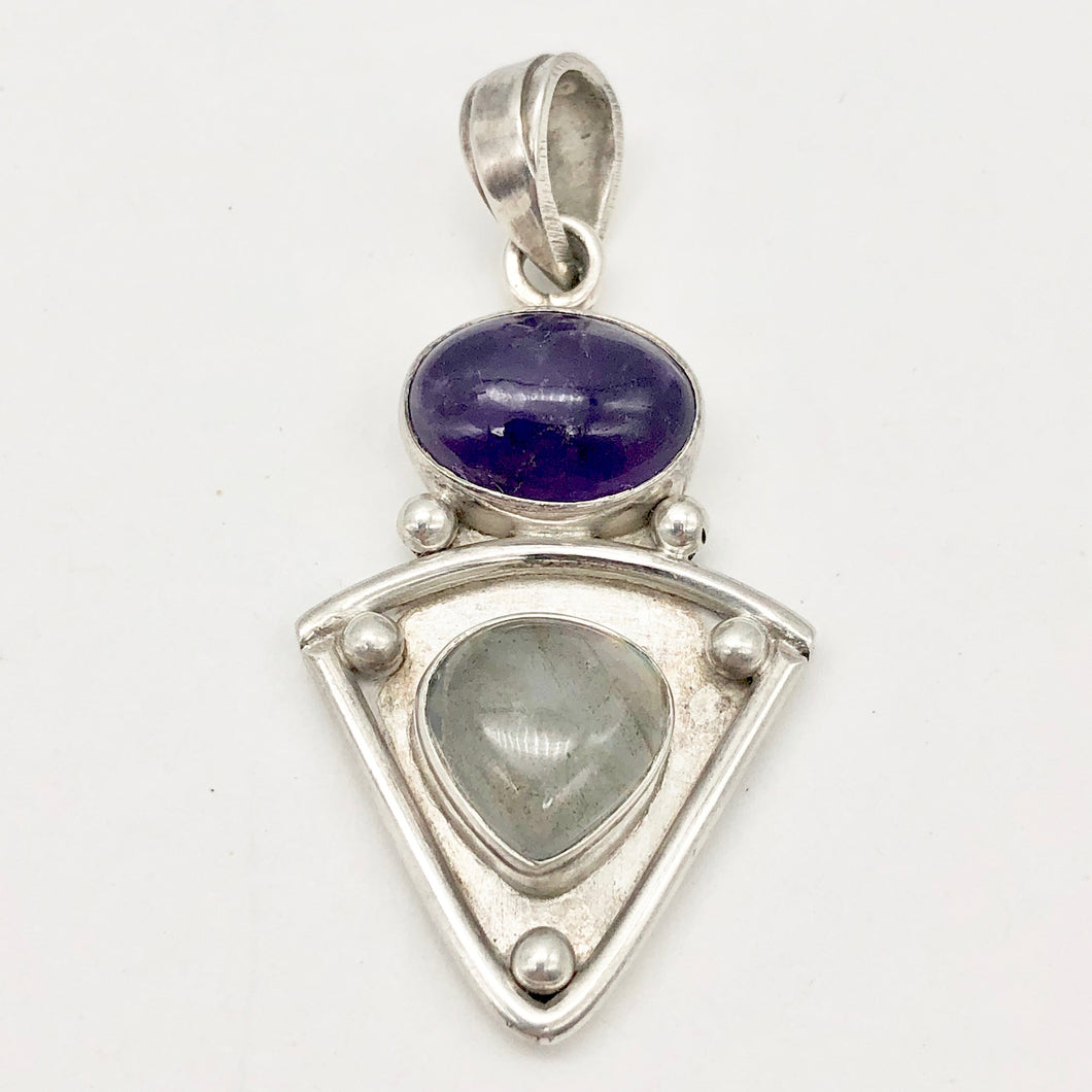 Alluring Amethyst and Labradorite Sterling Silver Pendant | 1 7/8 inch long |