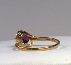 Natural Purple Faceted Oval Garnet in Solid 10Kt Yellow Gold Ring Size 6 9982Ac - PremiumBead
