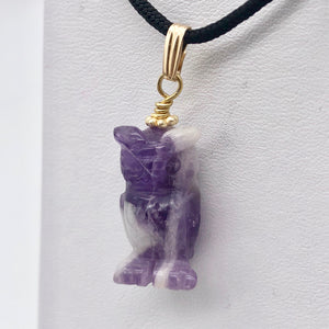 "Amethyst Hand Carved Hooting Owl & 14Kgf Gold Filled 1 3/8"" Long Pendant 509297AMG - PremiumBead"