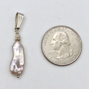 Pink Biwa FW Pearl with Sterling Silver Pendant, 1.5 inches 5082J - PremiumBead
