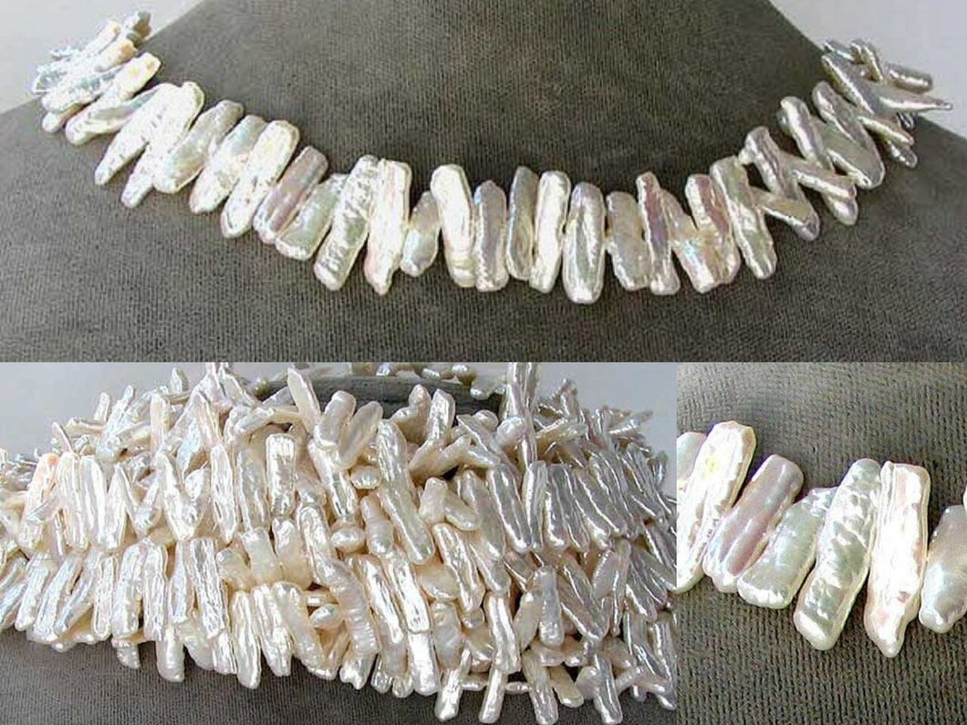 Creamy White Center-Drilled FW Stick Pearl Strand106849 - PremiumBead