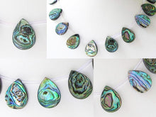 "Load image into Gallery viewer, Scenic Abalone Pear Pendant Bead 8"" Strand 004620HS - PremiumBead"