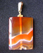"Load image into Gallery viewer, Hand Carved Carnelian Agate and 14K Gold Filled 2 1/8"" Pendant 506759B - PremiumBead Alternate Image 2"