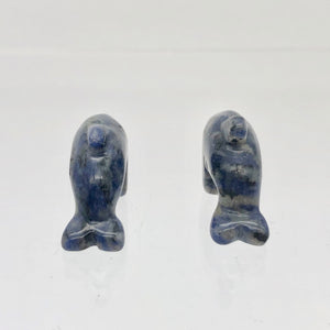 Unique Carved Sodalite Jumping Dolphin Figurine | 25x14x7.5mm | Blue White - PremiumBead
