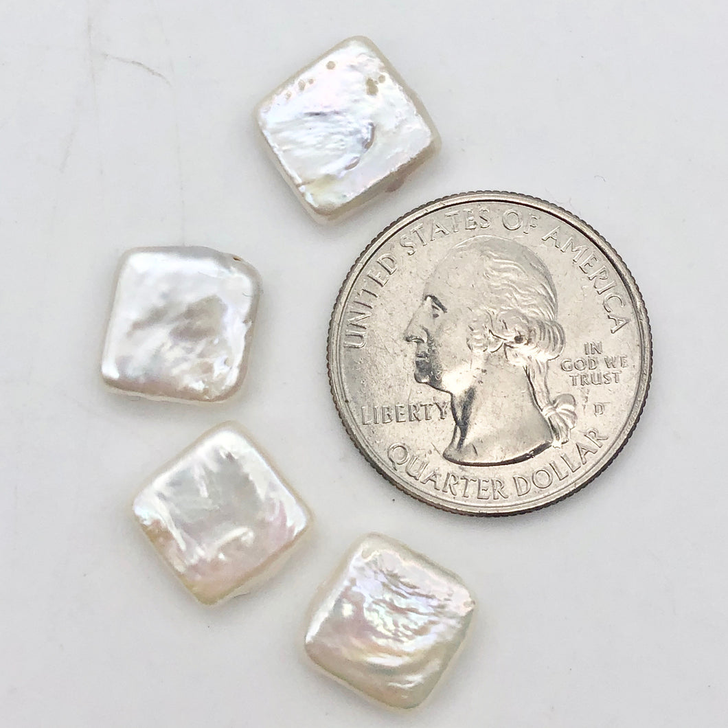 Four Beautiful White 11x11x4mm Square Coin FW Pearls - PremiumBead Primary Image 1