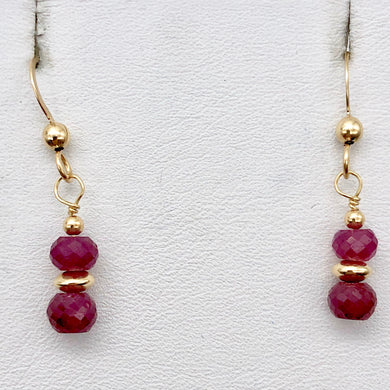 Natural Precious Gemstone Ruby Earrings with Gold Findings - PremiumBead