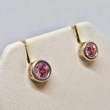 Load image into Gallery viewer, October! 7mm Pink Cubic Zirconia & Sterling Silver Earrings 9780Jb - PremiumBead