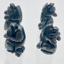Load image into Gallery viewer, howling-new-moon-2-carved-hematite-wolf-coyote-beads-21x11x8mm-silver-black-15969