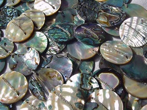 Exotic! Double- Drilled Abalone Coin Bead Strand 105063 - PremiumBead