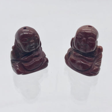 2 Hand Carved Brecciated Jasper Buddha Beads | 20x15x9mm | Red w/Brown and Grey - PremiumBead Primary Image 1