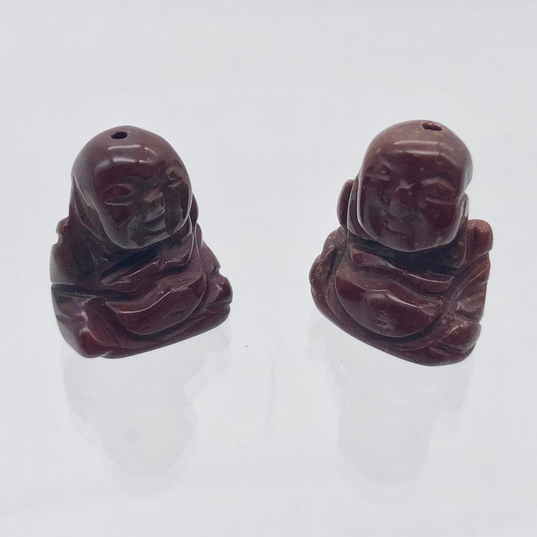 2 Hand Carved Brecciated Jasper Buddha Beads | 20x15x9mm | Red w/Brown and Grey - PremiumBead