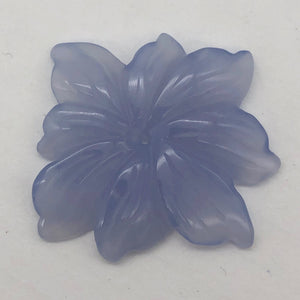41cts Exquisitely Hand Carved Blue Chalcedony Flower Pendant Bead - PremiumBead