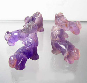 Howling 2 Carved Amethyst Standing Wolf / Coyote Beads | 22x16x8mm | Purple - PremiumBead Alternate Image 9