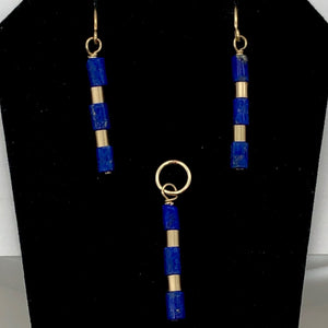 "Natural Blue and Gold Lapis Earrings and Pendant 14kgf Set | 1 1/4"" Long 