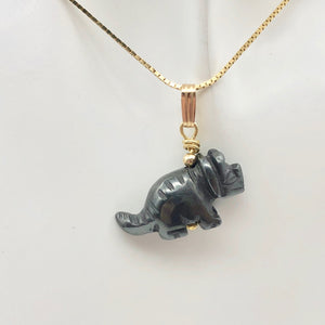 Hematite Triceratops Dinosaur with 14K Gold-Filled Pendant 509303HMG - PremiumBead Alternate Image 7