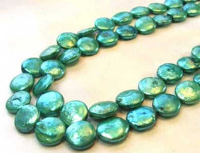 7 Minty Green 12 to 13mm Freshwater Coin Pearls 9442 - PremiumBead Primary Image 1