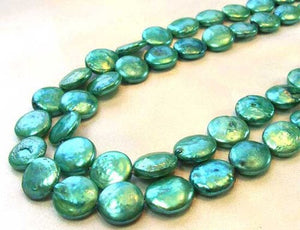 7 Minty Green 12 to 13mm Freshwater Coin Pearls 9442 - PremiumBead