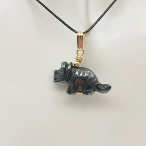 Hematite Triceratops Dinosaur with 14K Gold-Filled Pendant 509303HMG - PremiumBead Alternate Image 5