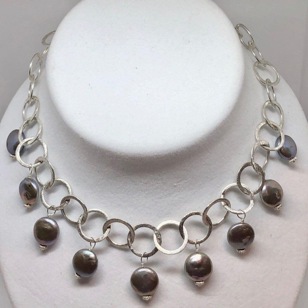 Perfect Moonrise Freshwater Pearl and Silver Circle Chain Necklace 209408 - PremiumBead Primary Image 1